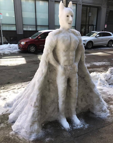 Batman snowman in the Leather District