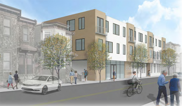 Architect's rendering of 656 Saratoga St. proposal in East Boston