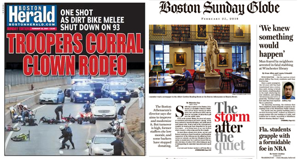 Covers of the Boston Herald and the Boston Globe on Feb. 25
