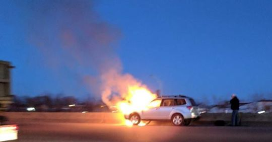 Car on fire on I-93
