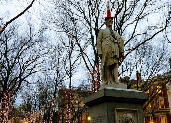 Alexander Hamilton with a cone on his head in Boston