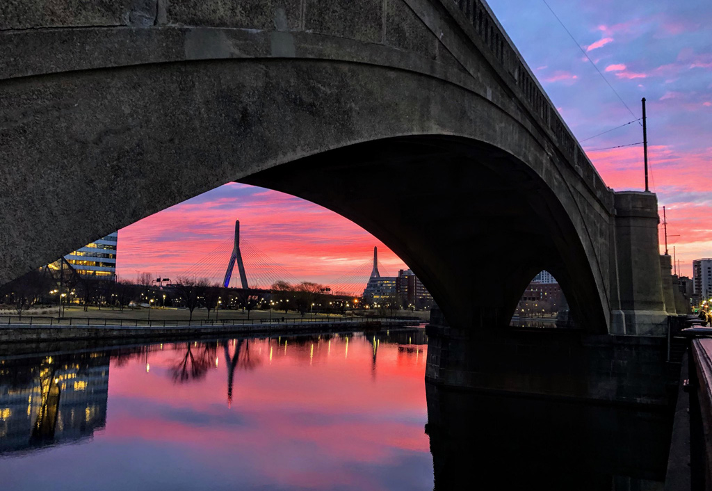Sunrise over the Zakim and under the viaduct