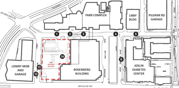 Map of proposed Beth Israel building location