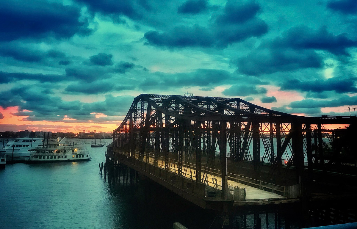Dawn over the Northern Avenue Bridge
