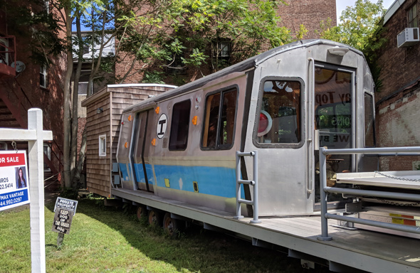 Part of an old MBTA Blue Line car in downtown Taunton