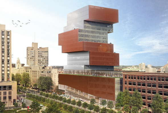 Architect's rendering of new BU building - with birds