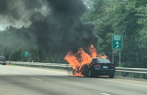 Flaming car on Rte. 128