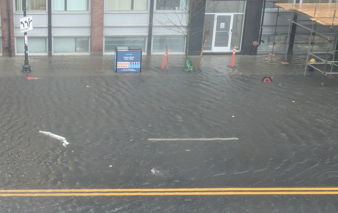 Flooded Causeway Street in Boston