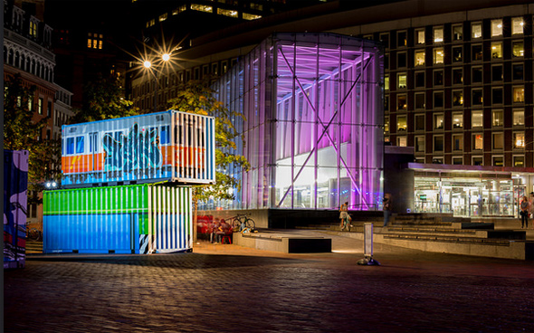Government Center MBTA station lit up in purple for Hubweek