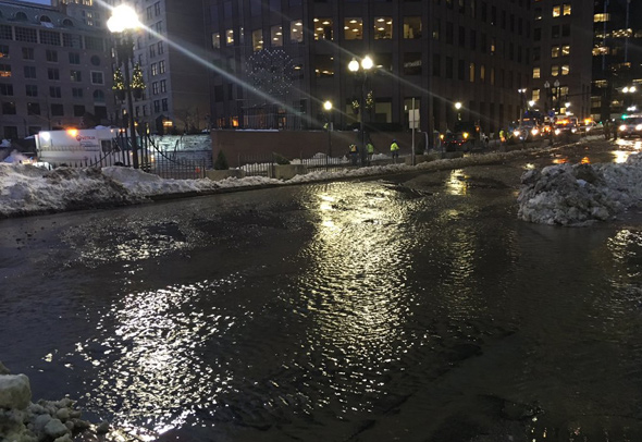 Flooded Congress Street in downtown Boston