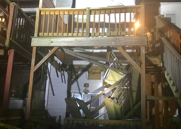 Collapsed porch on P Street in South Boston