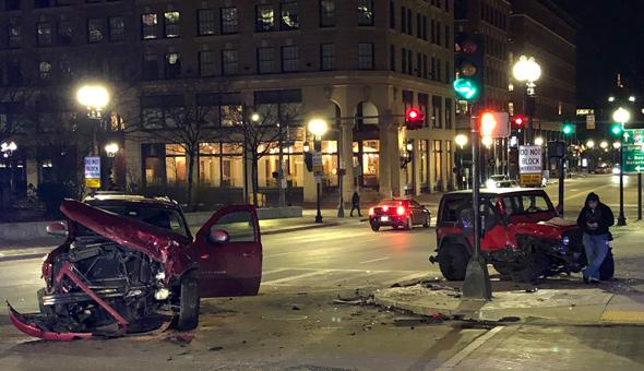 Two-car crash in downtown Boston