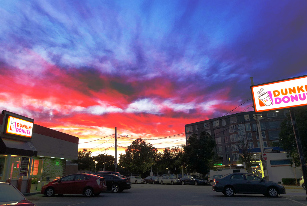 Sunset over a Dunkin' Donuts in Allston