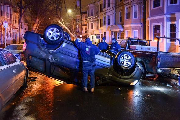 Flipped car in East Boston