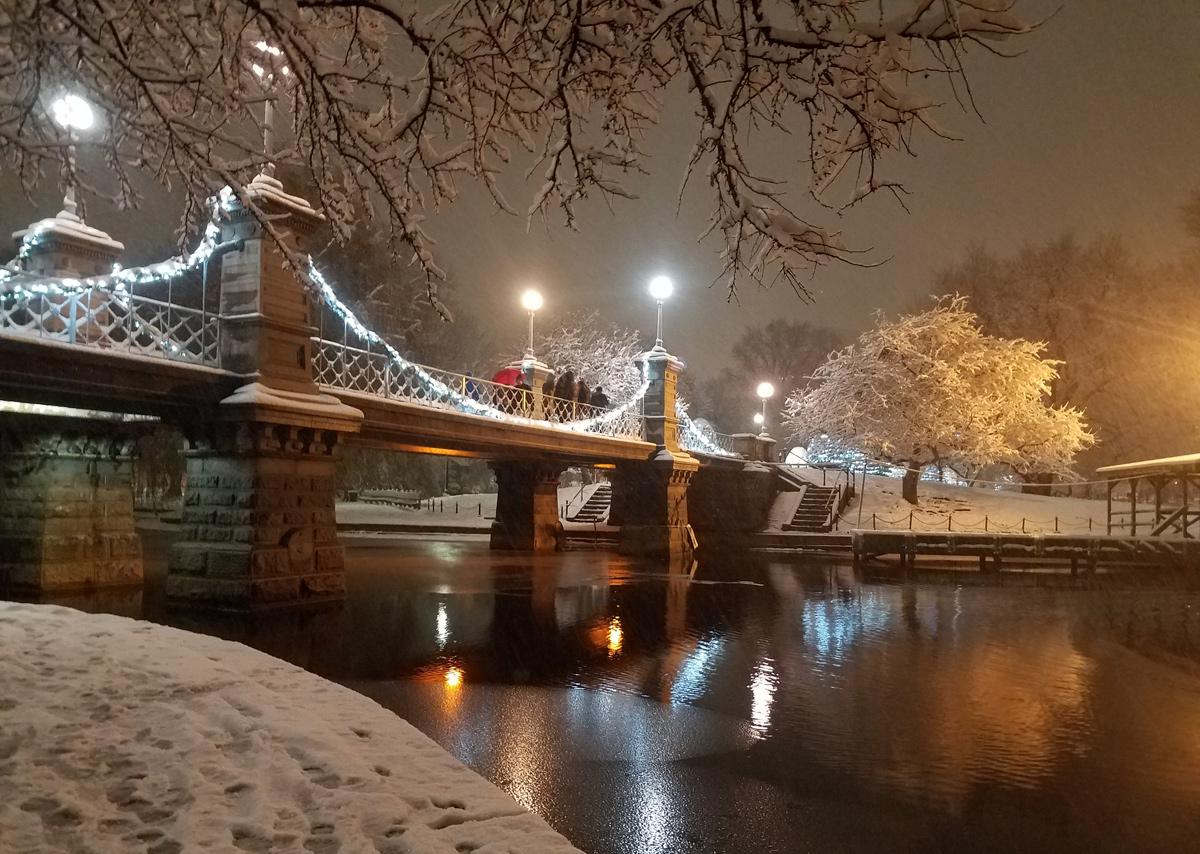 Public Garden bridge in the snow