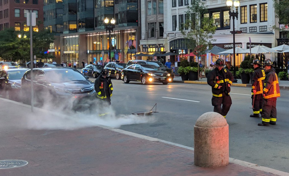Smoking manhole in Back Bay