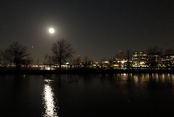 Full moon over the Charles River Esplanade