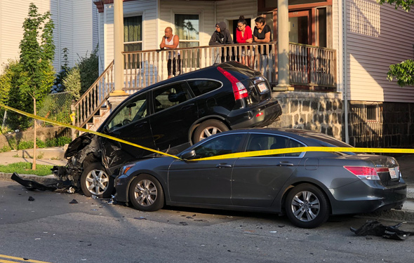 Three-car crash on Humboldt Avenue