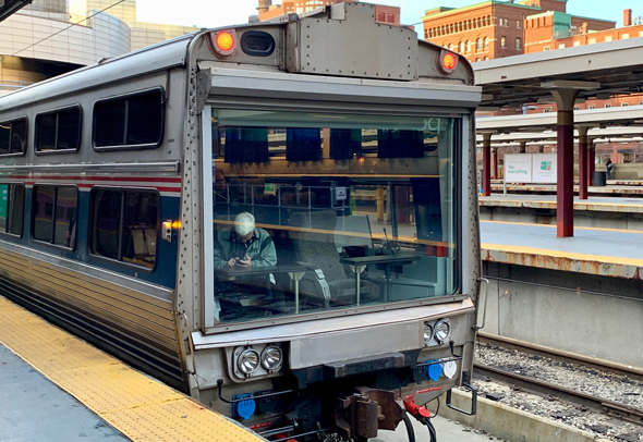 Amtrak inspection car at Boston's South Station