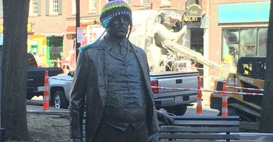 James Michael Curley statue in a winter hat