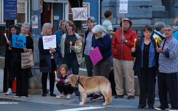 Anti-Kavinaugh vigil in Jamaica Plain