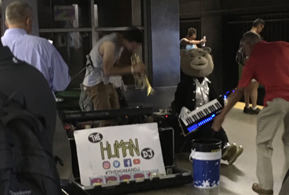 Keytar Bear at Back Bay station