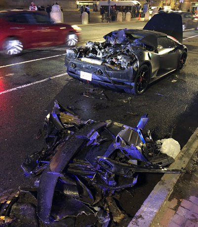 Remains of an expensive car in Copley Square