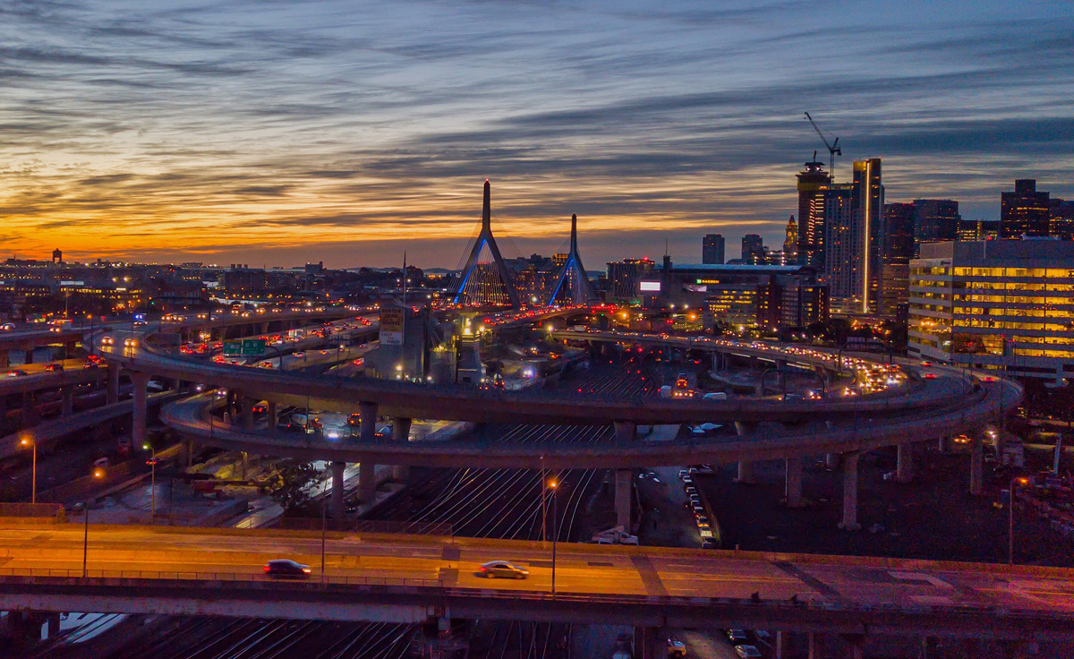 Sunrise over the Zakim Bridge and the Leverett ramps