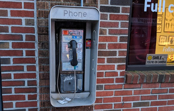 Payphone on Belgrade Avenue in Roslindale