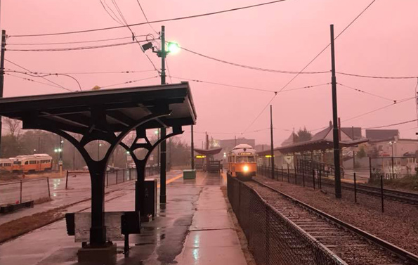 Pink skies over the Mattapan Line