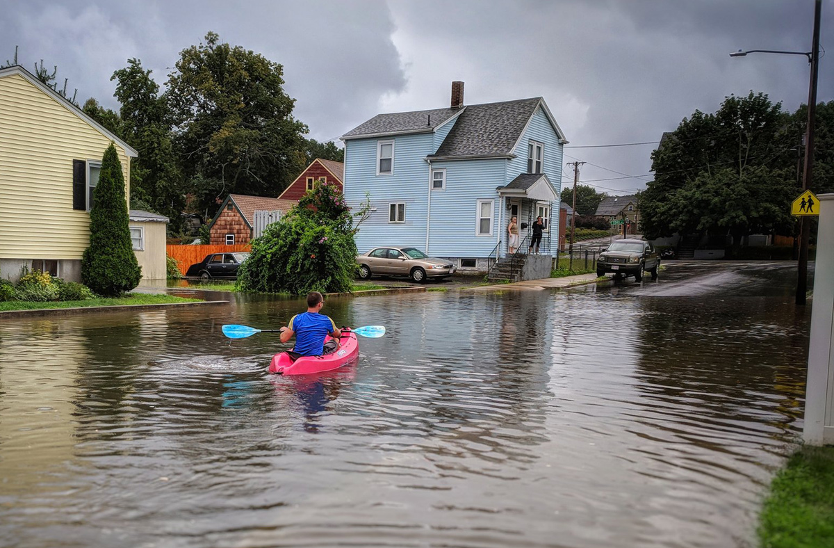 Flooded street in Readville