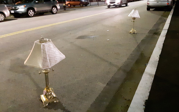 Lamps used as space savers in South Boston