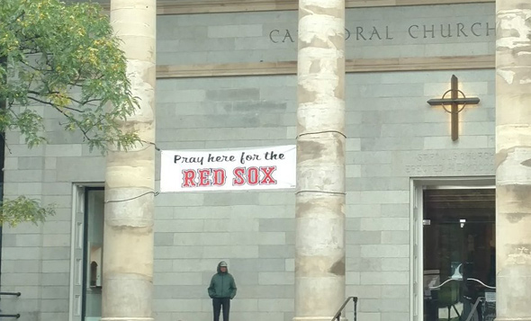 Banner on church says: Pray for the Sox