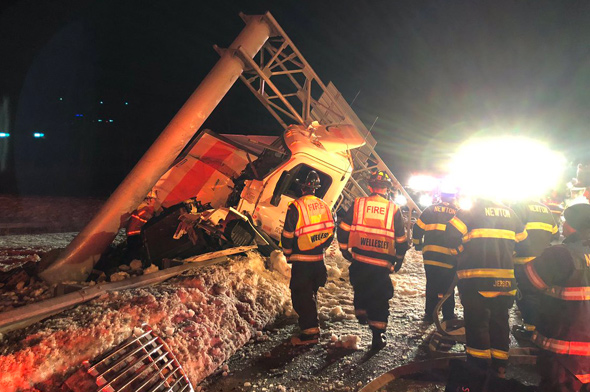 Smashed truck on Rte. 128 in Newton