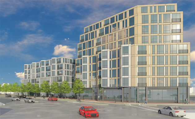 Architect's rendering of proposed 135 Dudley St. buildings