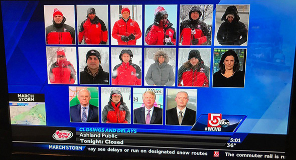 16 Channel 5 reporters and weather people on screen at once