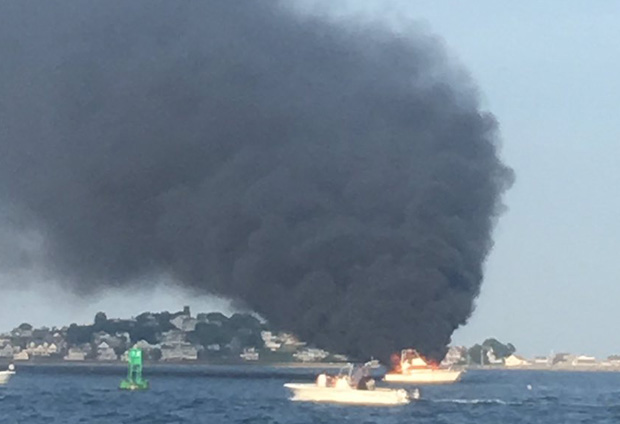 Boat on fire off Hull