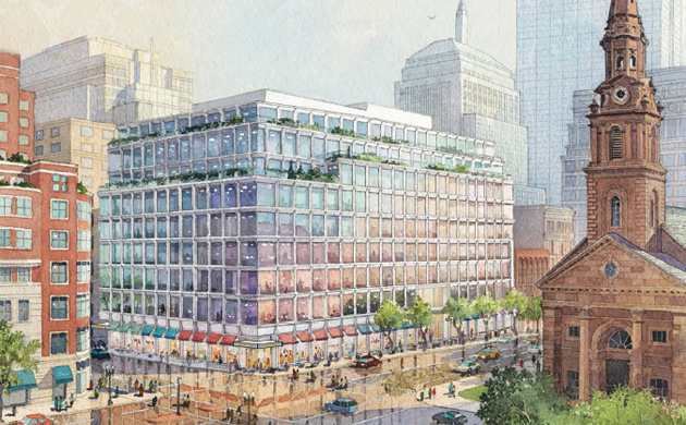 Architect's rendering of 350 Boylston Street proposal
