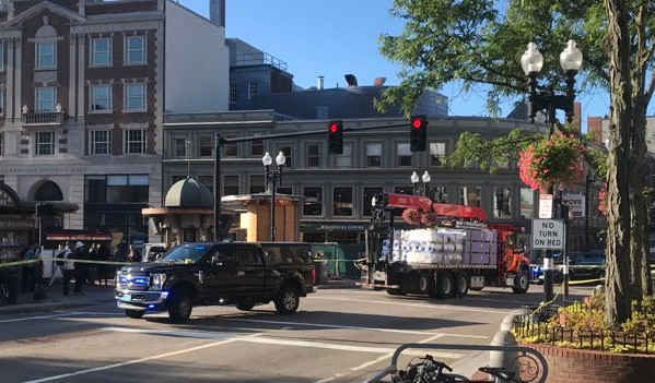 Harvard Square crash scene