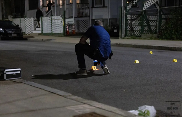 Detective and evidence markers on Abbotsford Street