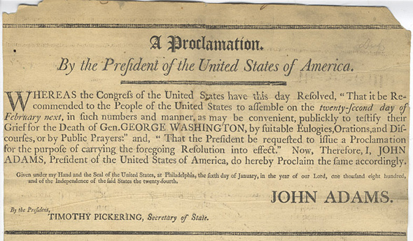 Proclaiming a day for George Washington in 1800 by John Adams