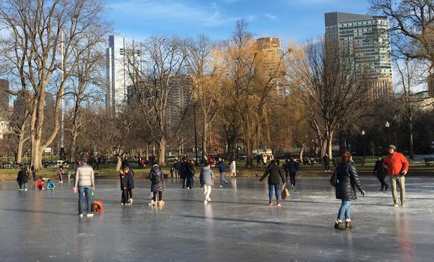 Public Garden lagoon now a skating rink