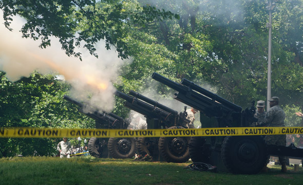 Army Howitzers being fired on the Common