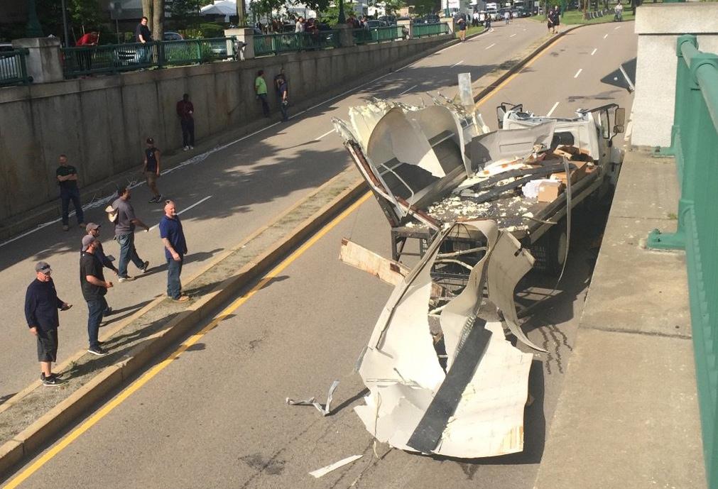 Storrowed truck on Memorial Drive