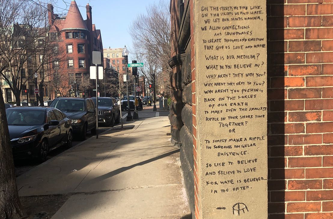 Long poem written on the side of a Back Bay building