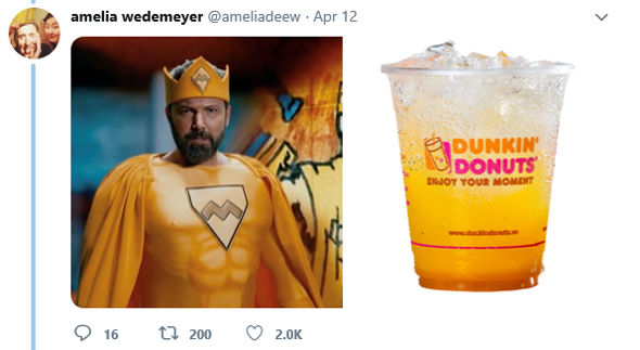 Ben Affleck as a Dunkin' Donuts beverage