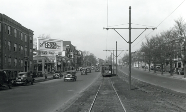 Trolley on Blue Hill Avenue in 1933