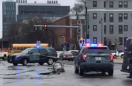 Fenway crash scene, showing bicycle.