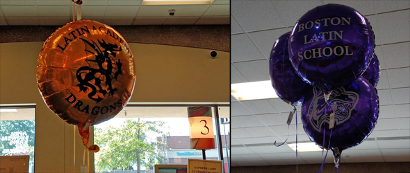 Boston Latin balloons in West Roxbury