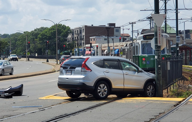 Car blocks the Green Line in Allston after crash